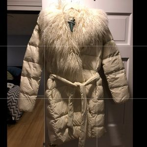 Ralph Lauren down belted coat  faux Mongolian fur